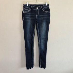 Maurices Dark Wash Back Flap Pocket Skinny Jeans